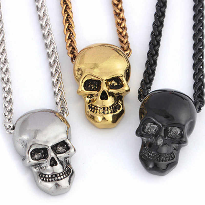 Halloween Jewelry Skull Necklace Stainless Steel Gothic Biker Pendant & Chain For Men/Women Punk Gift Gold/Black/sliver  Color