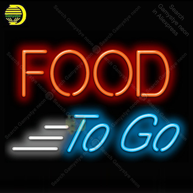 Food To Go Neon Light Sign Glass Tube Neon Bulbs Sign Decor Room Hotel Neon board Sign lamps accessories anuncio luminoso Atarii