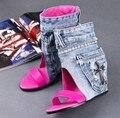 2016 de Moda de Verano Blue Jeans Cut-out Sandalias Peep Toe Aumento de la Altura Zapatos de Cuña de Verano Vestido de Mezclilla Para Las Mujeres tamaño 34-40