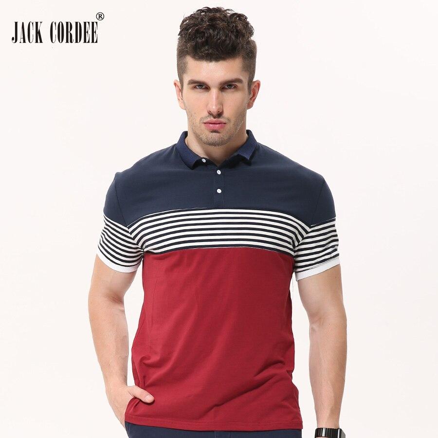 f40534d721 JACK CORDEE Moda Verão Listrado Camisa Pólo de Algodão Dos Homens Casual  Slim Fit Camisas Manga Curta Polo Roupas de Marca Plus Size