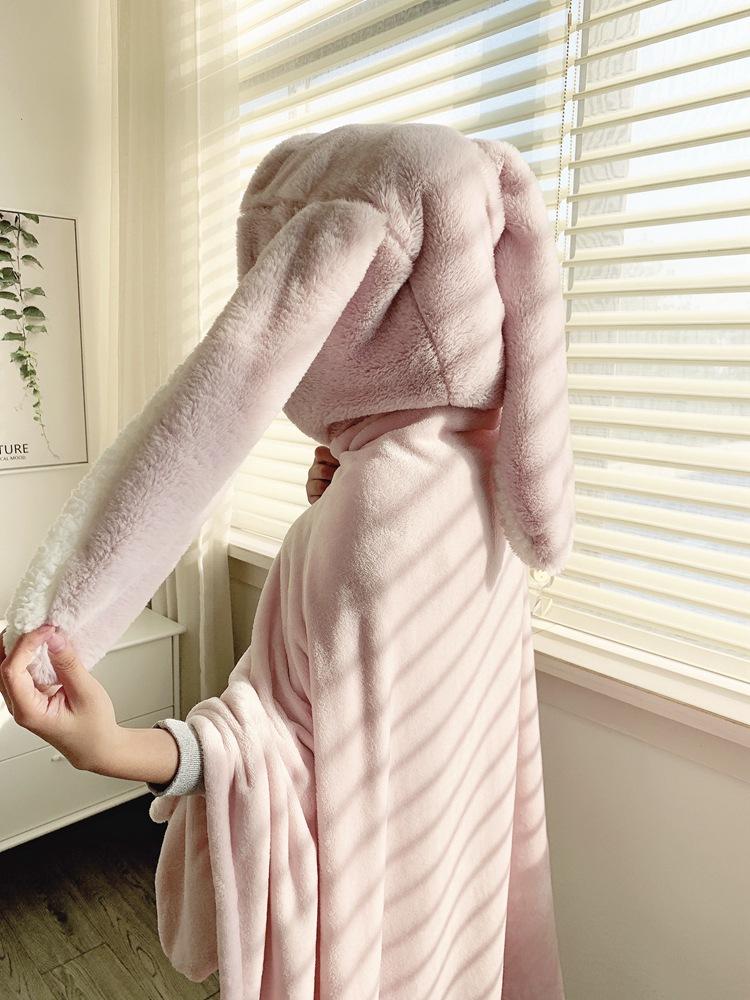 Cute Pink Comfy Blanket Sweatshirt Winter Warm Adults and Children Rabbit Ear Hooded Fleece Blanket Sleepwear Huge Bed Blankets 133