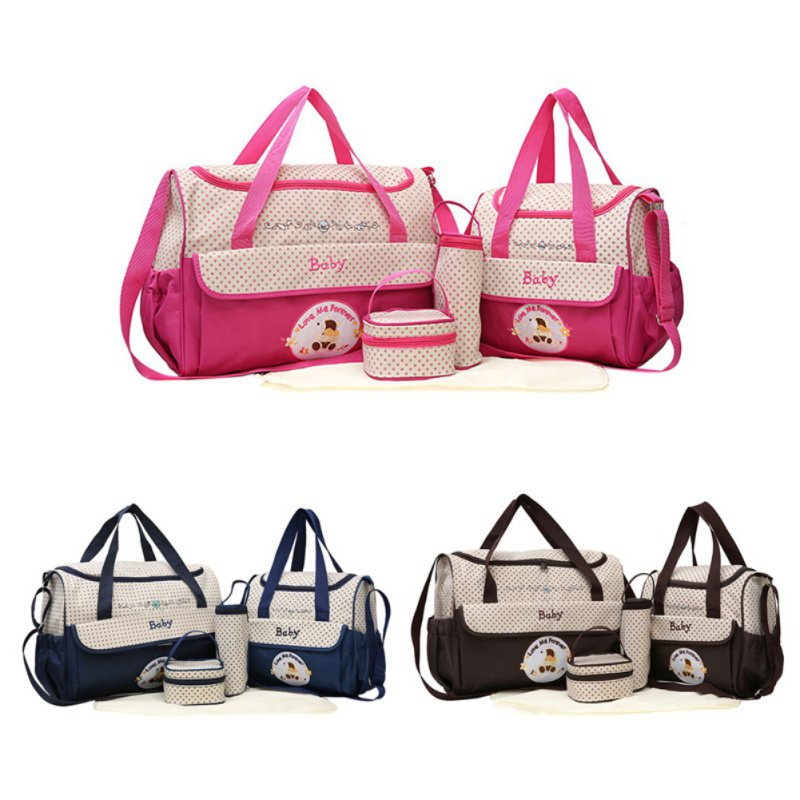 5 Pcs Mummy Bag Large Capacity Multi-function Baby Durable Messenger Bag Diapers Waterproof Nappy Bags Suit