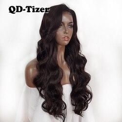 QD-Tizer Lang Haar Synthetische Lace Front Pruik Haar Kleur #4 Body Wave Side Deel Afro-amerikaanse Kant pruiken Baby Haar voor Vrouwen
