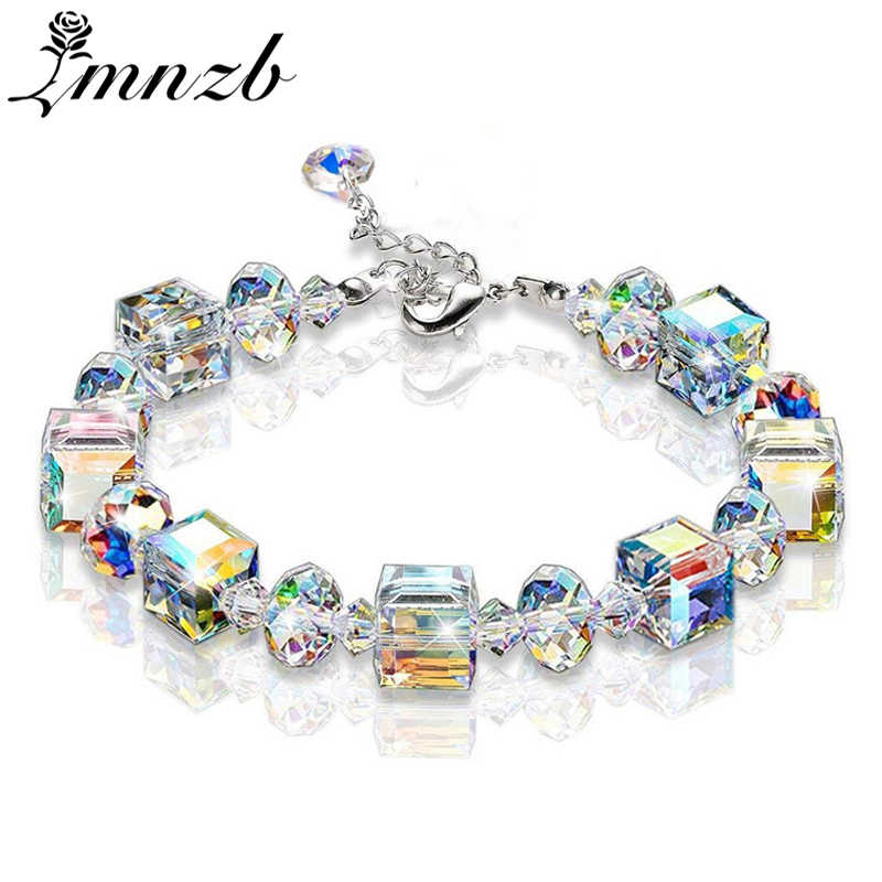LMNZB New Summer Colorful Crystal Charm Bracelets For Women 925 Solid Silver Adjustable Bracelets Wedding Fashion Jewelry LB1207