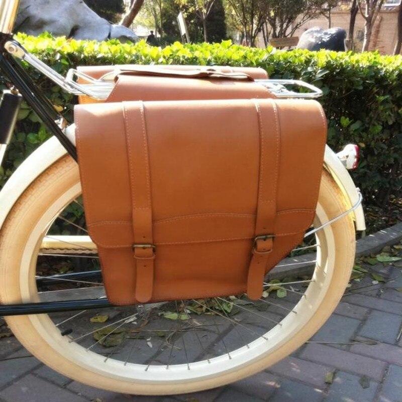 E0999 Ретро велосипед после Рама Сумка шоколад 100% глава слой желтый коровьей велосипед сзади rack сумка велосипед Запчасти 1 шт.