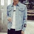 Más el Tamaño M-5XL 2016 Chaqueta de Mezclilla de Los Hombres de alta calidad Jeans de moda Chaquetas ocasionales Delgados streetwear Vintage Para Hombre jean ropa