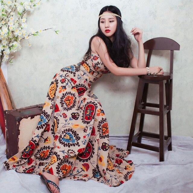 02078062b BOHOCHIC Women s Artistical Original Design Vintage The Gypsy Tropical  Rainforest Long Cotton Linen Dress AT0002X Boho Chic