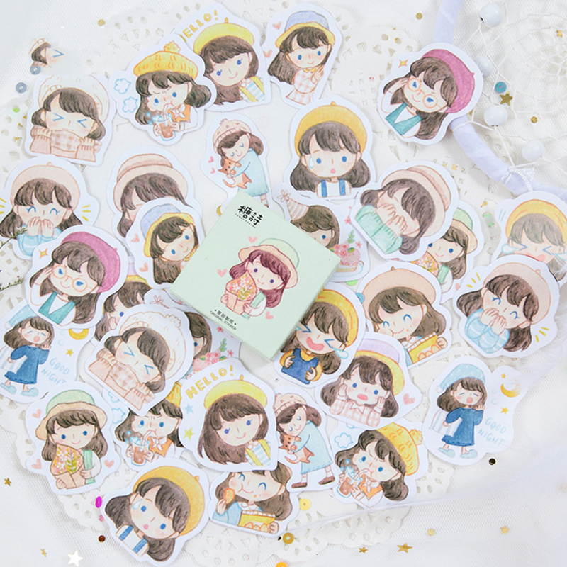 45 Pcs/pack Lovely Japanese Journal Adhesive Paper Decor Scrapbook Girl Cute Label Stickers Flakes Stationery