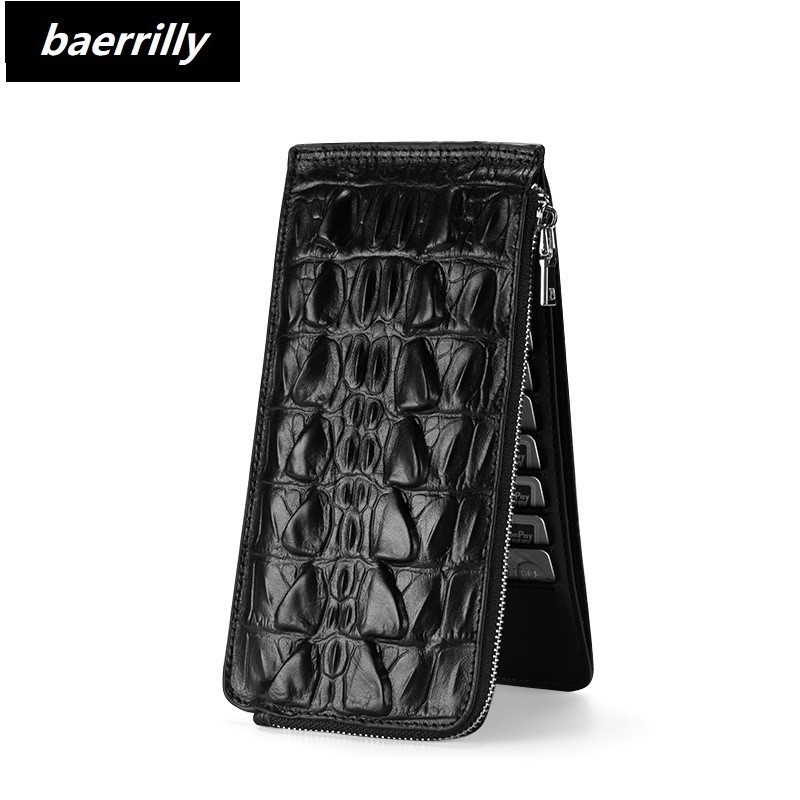 Genuine Leather Long Wallet Men Clutch Bag Zipper Wallets Billetera Hombre Card Holder Men Crocodile Leather Wallet Coin Purse цена