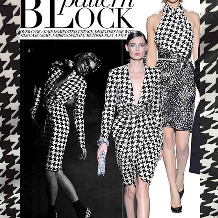 Black and white bird, elastic fabric, printed cotton knitted fabric dress, imported fashion fabrics.