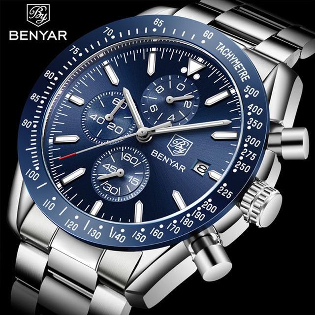 Benyar 2018新メンズビジネス腕時計フルスチールクォーツトップブランドの高級スポーツ防水カジュアル男性腕時計レロジオmasculino
