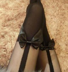 Sexy Suspension with Butterfly Knot and False High Silk tights Stitching Fake Thighs Pantyhose and False Butterfly Knot