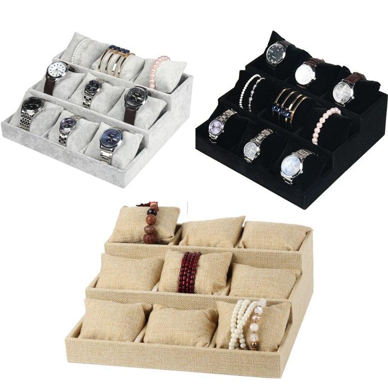 Роскошный черный/серый бархатный Льняной браслет 9 подушек Лоток часы шпилька наручная цепочка шкатулка для украшений тарелка держатель ди