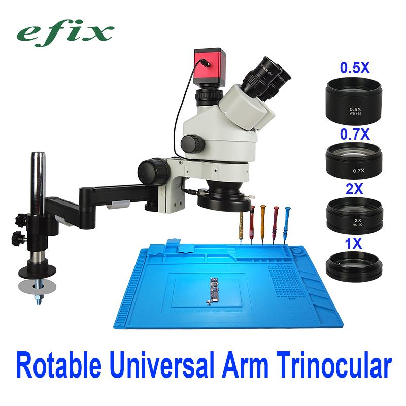 efix 13MP 3 5 90X Rotable Universal Arm Stand Trinocular Microscope HDMI VGA Camera Soldering Stereo