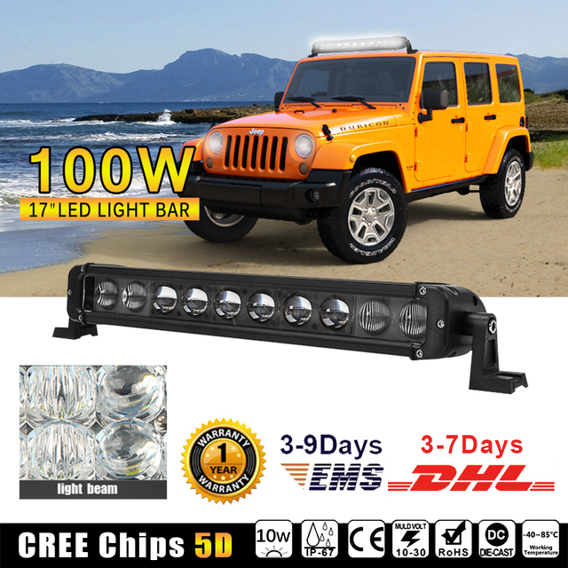 1pcs 17inch led light bar 100w offroad working light with high 1pcs 17inch led light bar 100w offroad working light with high intensity cree chips 5d lens aloadofball Choice Image