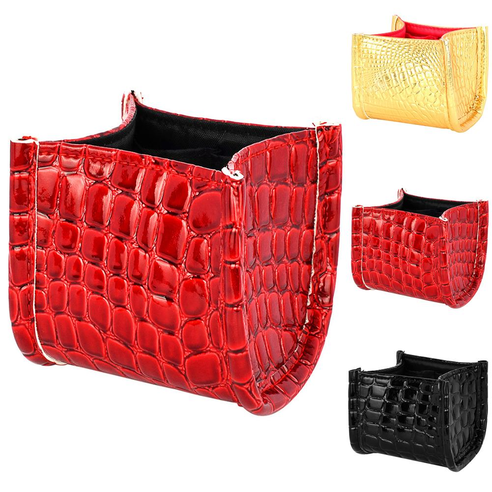 Home Portable Fashion Crocodile Pattern Faux Leather Makeup Storage Bucket Box Case Cosmetic Brush Travel Pen Holder Tool