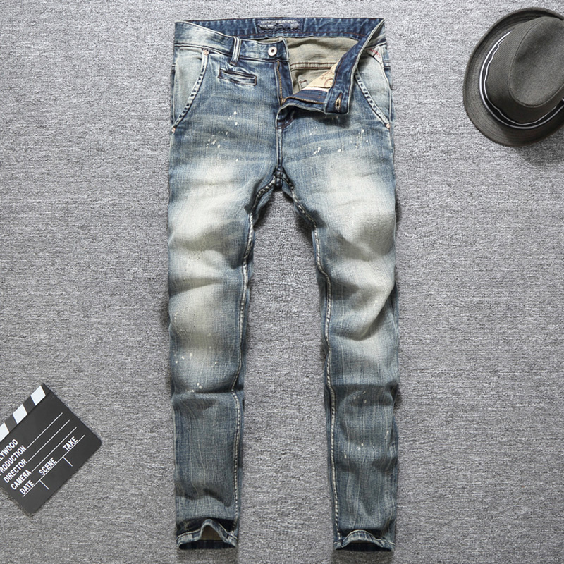 Quality In Latest Collection Of Italian Vintage Designer Men Jeans Top Quality Light Color Printed Jeans Slim Fit Cotton Stretch Pants Brand Classical Jeans Men Superior