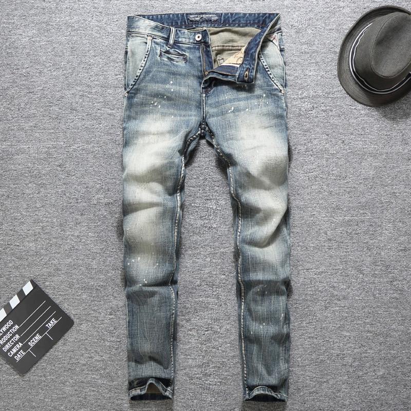 Italian Vintage Designer Men Jeans Top Quality Light Color Printed Jeans Slim Fit Cotton Stretch Pants Brand Classical Jeans Men