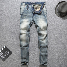 купить Italian Vintage Designer Men Jeans Top Quality Light Color Printed Jeans Slim Fit Cotton Stretch Pants Brand Classical Jeans Men дешево