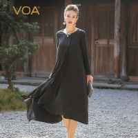 VOA Black Asymmetrical Long Dresses Long Sleeve O Neck Ankle Length Dress A6227