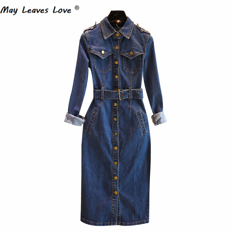 May Leaves Love Korean Designer 2017 Spring Long Sleeve Women Denim Dress Slim Fashion Dresses Vestidos With Belt 7053