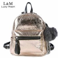 Luxy Moon Women Backpack School Bags PU Leather Backpack Female Teenage Girl Shoulder Silver Mini Backpacks