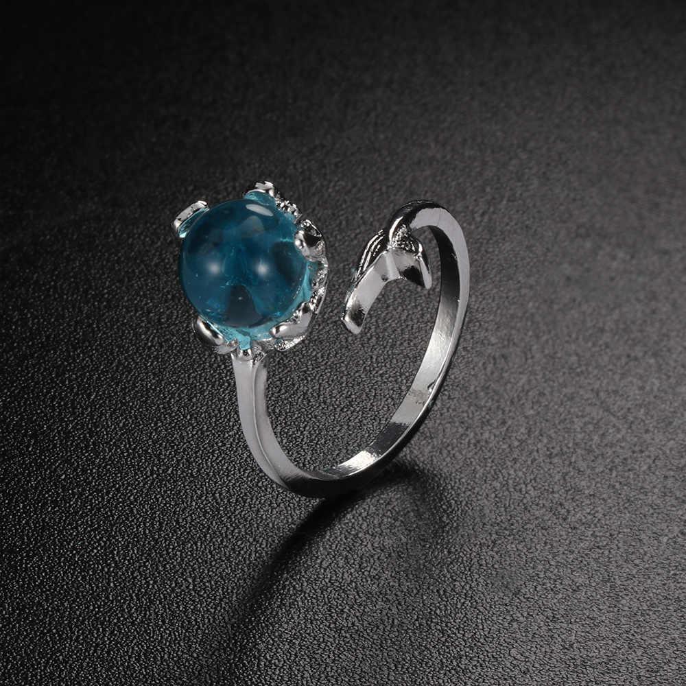 1PCs ขายร้อนเปิดสีฟ้าคริสตัล Mermaid Bubble แหวนสำหรับผู้หญิงของขวัญเครื่องประดับปรับขนาดฟรีเรือ