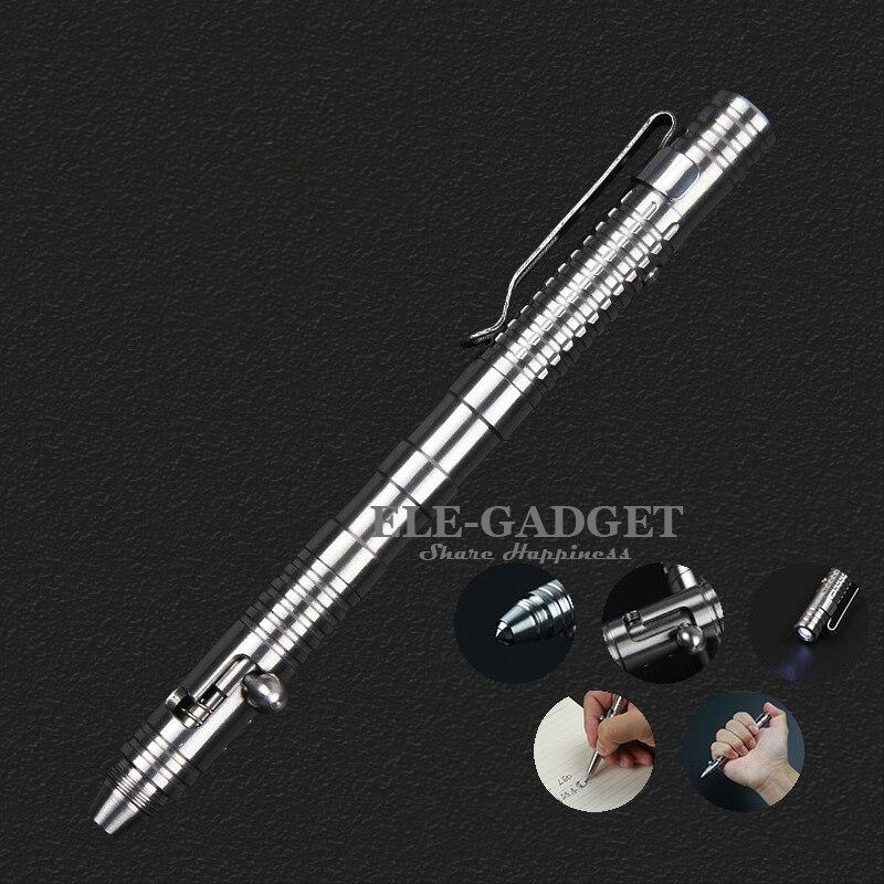 imágenes para De Acero Inoxidable de alta Calidad Tactical Pen Con Linterna Autodefensa Armas Rompe el Vidrio De Emergencia Perno Interruptor Caja de Regalo