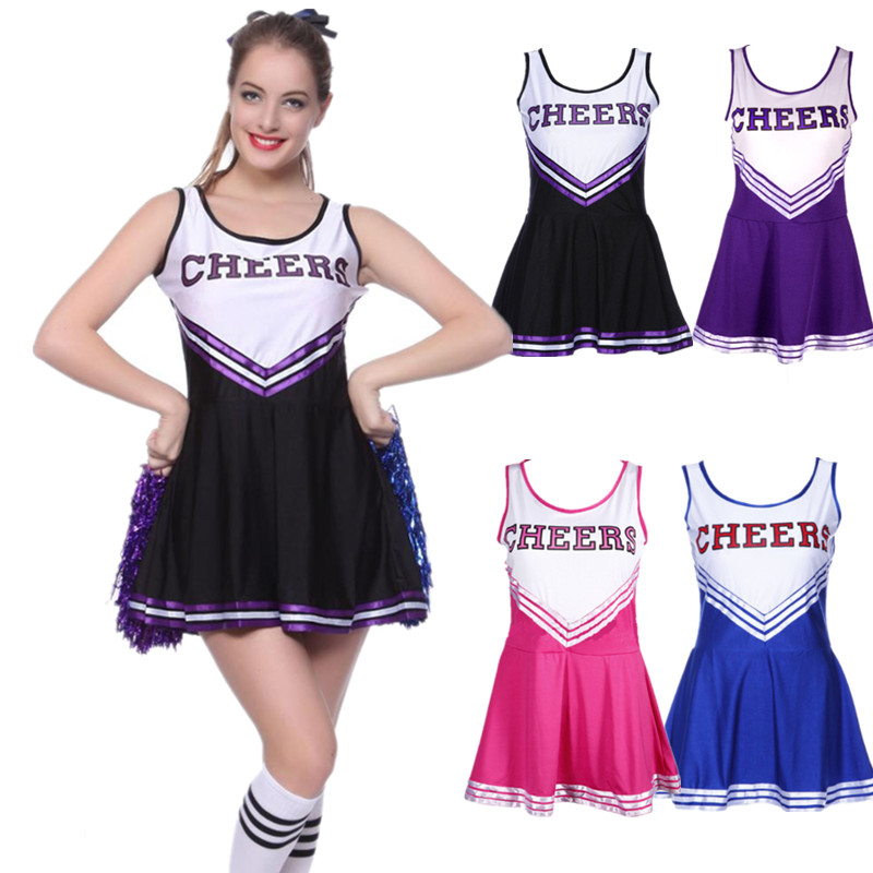 5 Color Hot Sale High School Sexy Cheerleading Fancy Dress Cheer Uniform Girls Cheerleader Costume School Girl Costume
