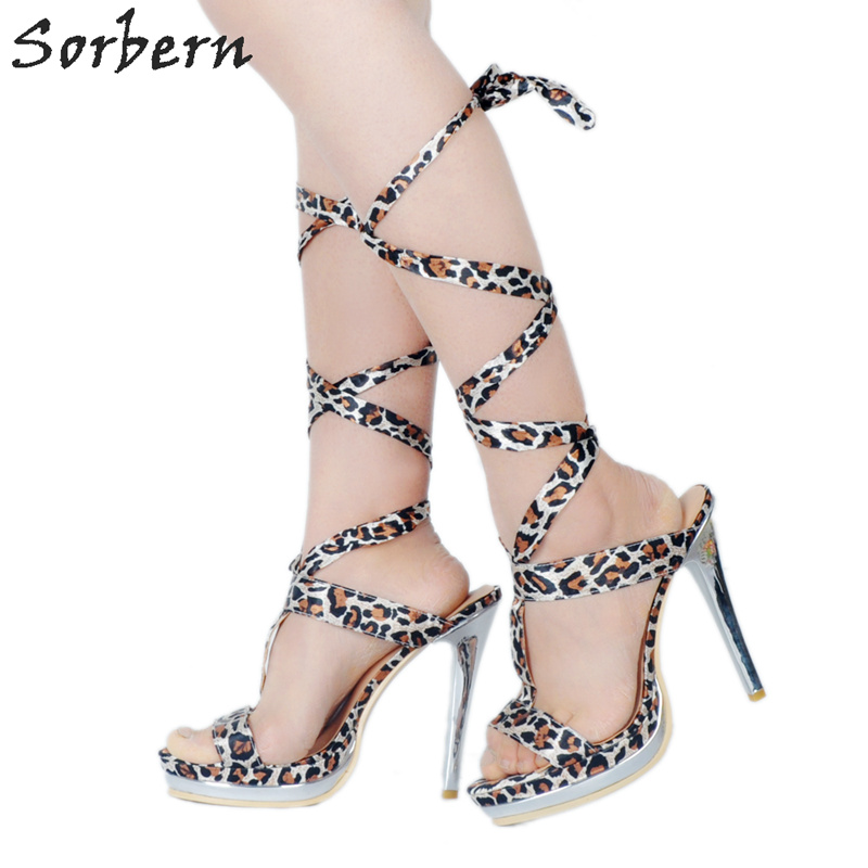 Sorbern Leopard Gladiator Sandals For Women Lace Up Shoes Ladies High Heels Women Designer Shoes Women Sandals Summer 2018 pair of chic hollow flower lace up barefoot sandals for women
