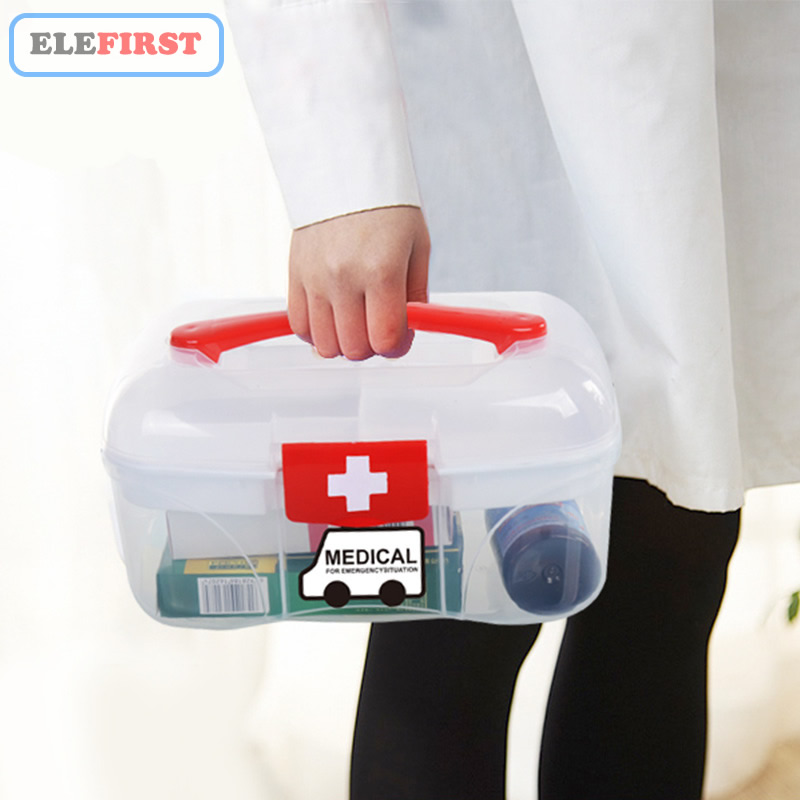 Home Use First Aid Box Emergency Kits Case Portable Medical Wound Treatment Pills Bandages Storage Box For Home Car Travel
