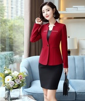Fashion Red Uniform Styles Business Suits With 2 Piece Sets Skirt and Tops Women Blazers Jackets Work Wear Sets Autumn Winter