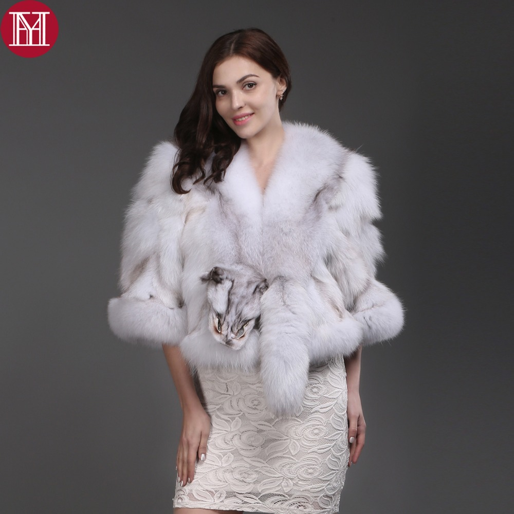 2019 New Style Fashion Women Real Genuine Fox Fur Poncho Coat 100% Real Natural Fox Full Fur Short Overcoat Real Fox Fur Jacket