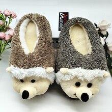 Chinelos interior cão especial oferta personalizado um inverno quente hedgeh amantes casa chinelos de fundo duro grosso sapatos no piso amantes sapatos