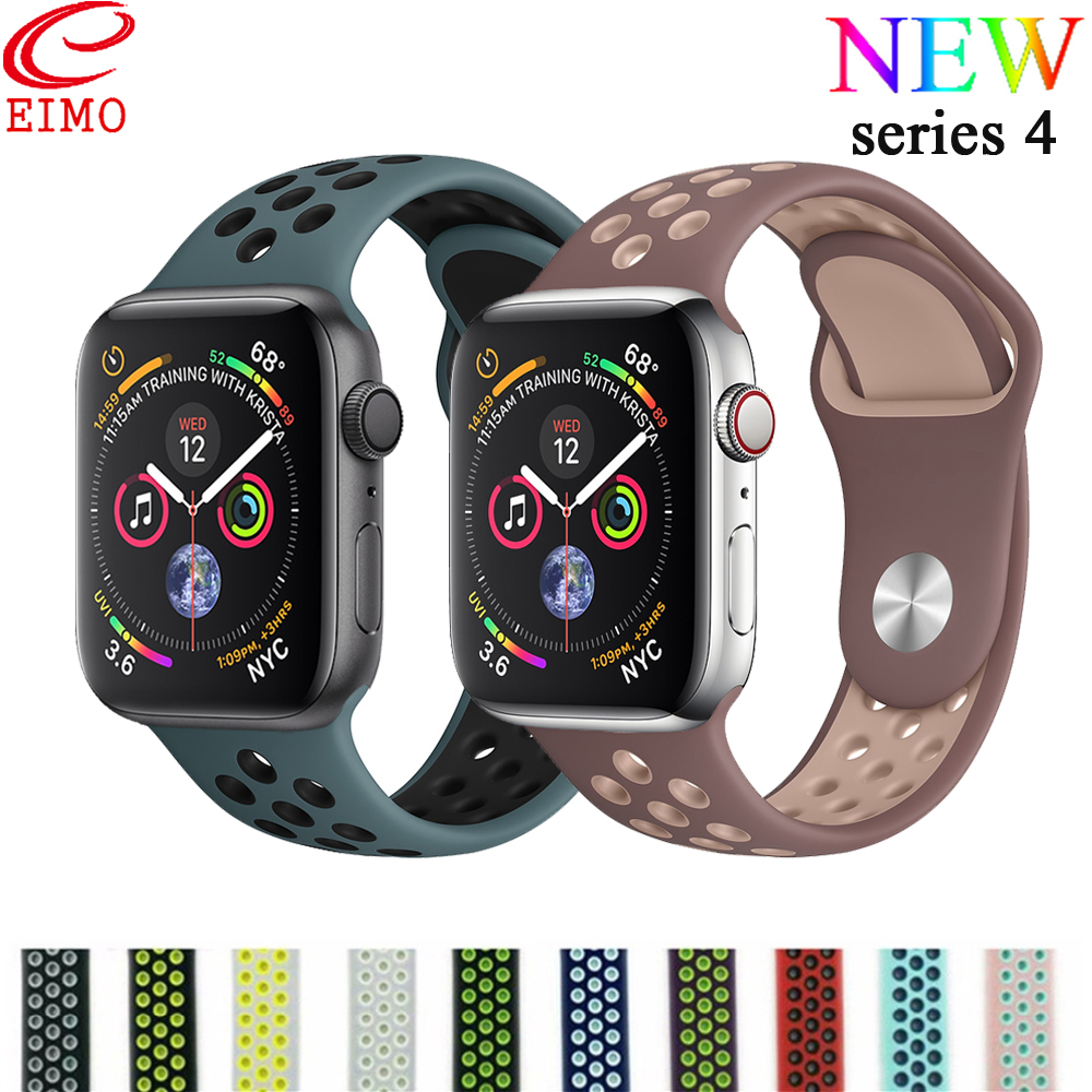buying new special section super cheap EIMO Silicone Strap for Apple Watch 4 44mm 40mm Nike Sport Band correa  iwatch Series 4 3 2 1 pulseiras Wrist Bracelet Watchband