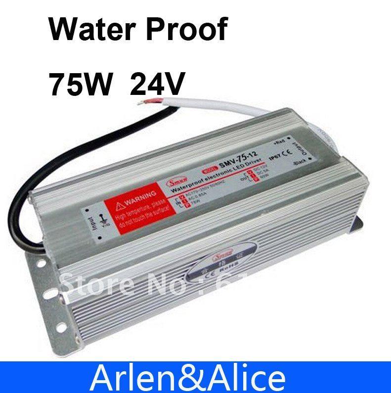 цены на 75W 24V 3.2A Waterproof outdoor Single DC Output Switching power supply LED DRIVER AC TO DC в интернет-магазинах