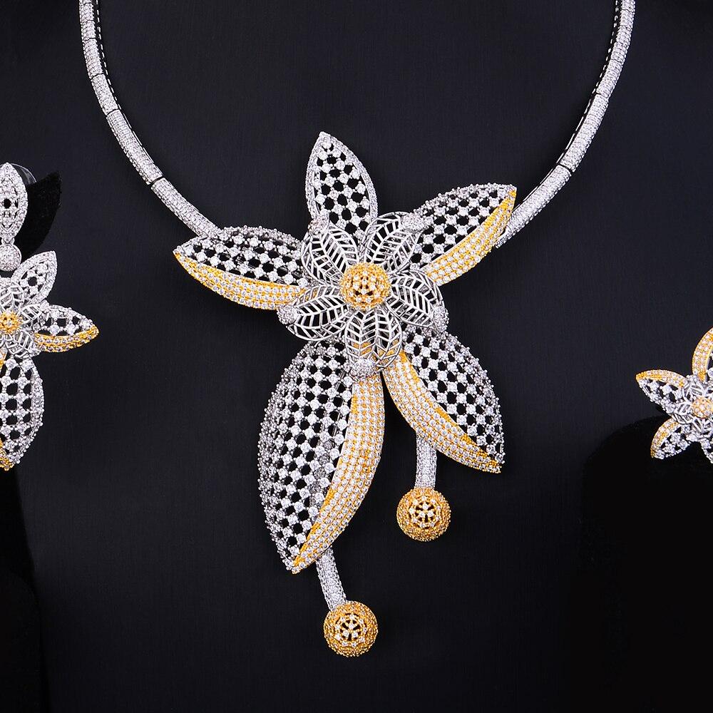 GODKI Luxury Star Flower Leaf Nigerian Trendy Jewelry sets For Women Wedding Cubic Zircon CZ Dubai Gold Bridal Jewelry Set 2019