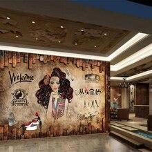 Papel pintado beibehang personalizado 3d, murales nostálgicos, maquillaje vintage, salón de belleza, Fondo de peluquería, papel de pared de barbería