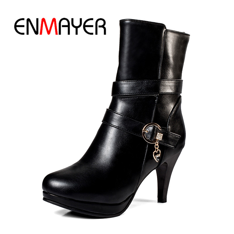 ENMAYER New Fashion top quality pigskin Women Basic round toe thin heel ankle boots lady high heel buckle boots ZYL660 basic 2018 women thick heel ankle boots black pu fleeces round toe work shoe red heel winter spring lady super high heel boots