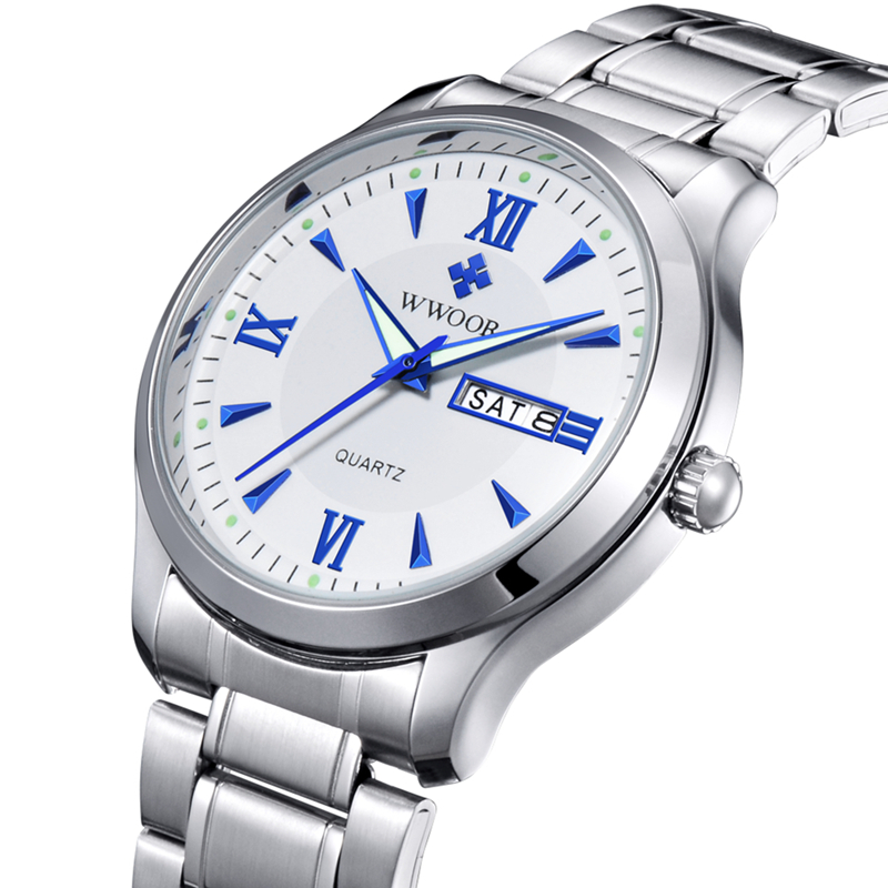 New Arrive Brand WWOOR Men s Watch Date Stainless Steel Luminous Dress Men Casual Watch Original