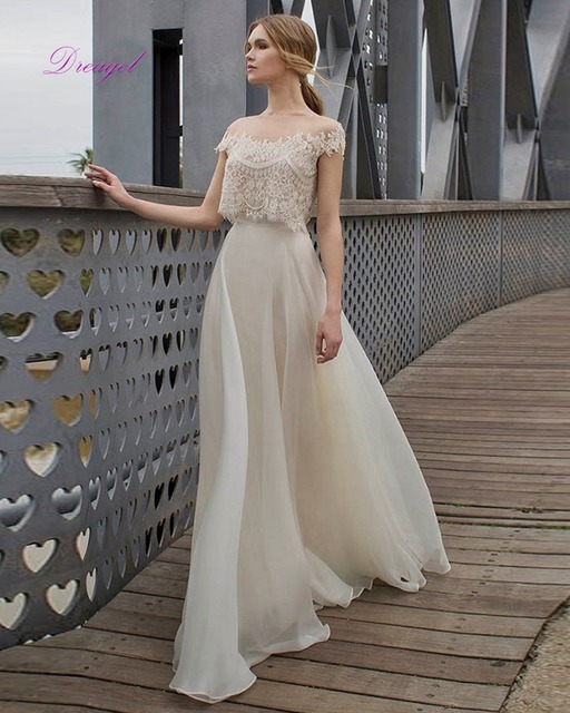 Great Dreagel Romantic Scoop Neckline Two Piece Beach Wedding Dresses Delicate Lace Appliques Beaded Bridal Dress With