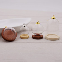 5sets/lot 38*25mm glass globe bottle wood base beads cap set glass vial cover dome glass bottle cute charms 5sets 25mm micro landscape ecological glass bottle glass pots with jewelry findings set glass bottle moss diy glass globe set
