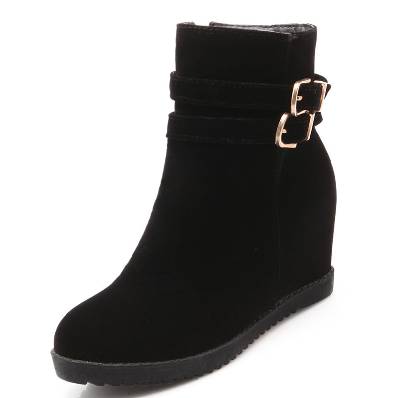 ФОТО AirfourAnkle boots Buckle  Round Toe wedges women  boots New Black blue red Shoes High Boots Platform new Winter Boots pumps