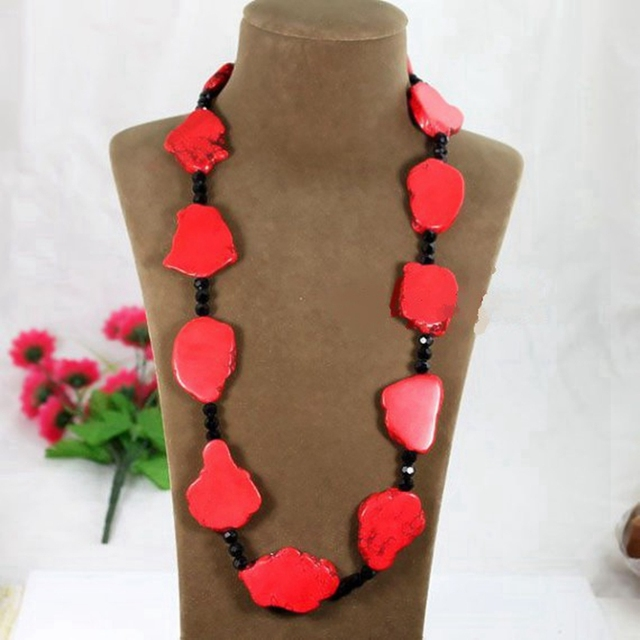 New Arrival Red Turquoise Stone Necklace, Long Necklace