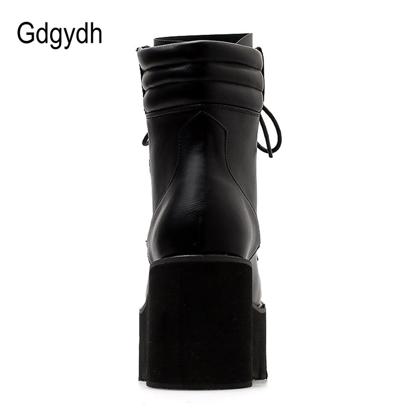 Gdgydh Gros Automne bottines Pour Femmes bottes de moto talons épais décontracté Laçage Bout Rond Plate-Forme Bottes Chaussures Femme - 3