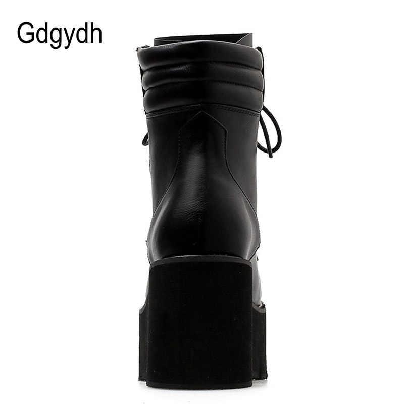 Gdgydh gros automne bottines pour femmes moto bottes talons épais laçage décontracté bout rond plate-forme bottes chaussures femme
