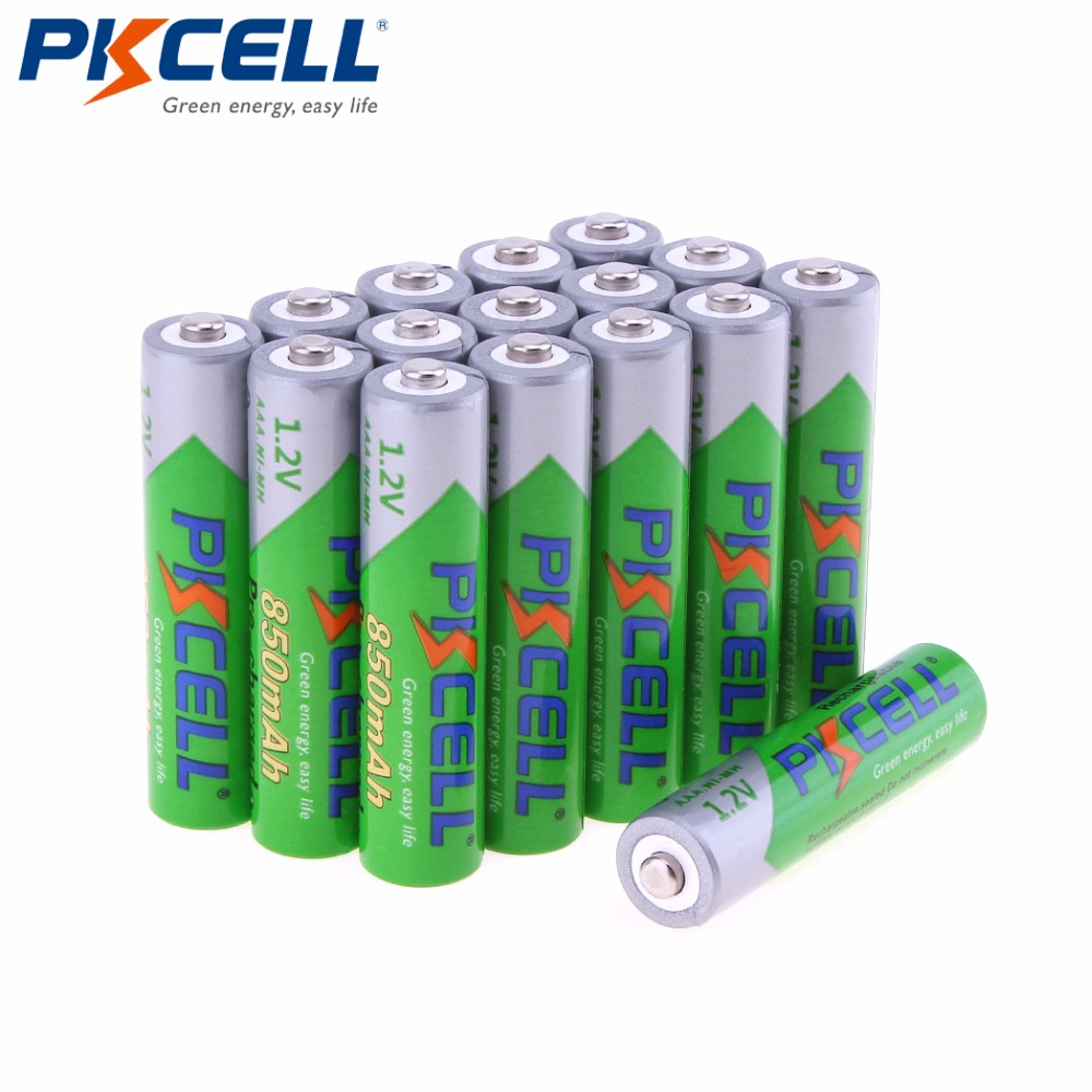 16Pcs PKCELL 1.2V 850mAh AAA Rechargeable Batteries Pre-charged NI-MH 3A  Battery Baterias Bateria