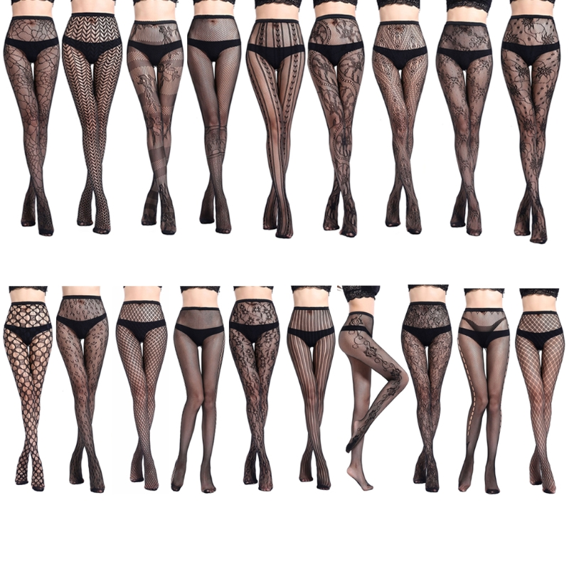 Womens Sexy Elastic Transparent Fish Net Toe Silk Stockings Control Top Panty Hose