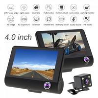 4.0'' IPS Screen HD 3CH Car Recorder DVR Dash Camera G Sensor Cyclic Recording with 170 Degree Night Vision Car Rear View Camera