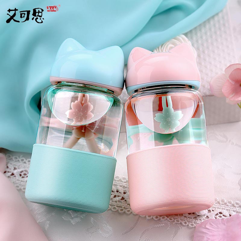 Candy Colors My Glass Water Bottle Fox Silicone Drinking Water For Bottle Child Animal Tumbler bottles